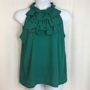 Essentials Emerald Green Sleeveless Ruffle Blouse